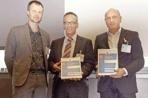 Die Preisverleihung mit (v.l.n.r.): Werner Weiss, Geschäftsführer der e7Energie Markt Analyse GmbH, Klemens Leutgöb, Wirtschaftsagentur Wien, und Horst Reiner; ATP architekten ingenieure (Wien).