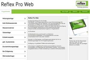 """Auslegungssoftware """"Reflex Pro"""" in der Web-Variante"""