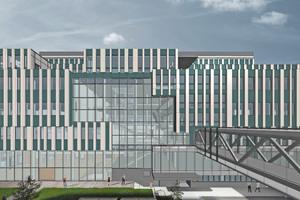 Ansicht eines mit BIM geplanten Forschungsgebäudes (Forschungsinstitut für Molekulare Pathologie [IMP], Boehringer Ingelheim Austria, Wien) in der allgemeinen Ansicht …