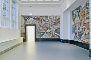 """Bilck in das sanierte Kaiser-Wilhelm-Museum mit der Wandmalerei """"Lebensalter"""" aus dem Jahr 1923 von Johan Thorn Prikker"""