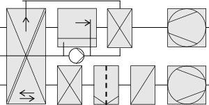 """<div class=""""grafikueberschrift"""">System 6 </div>Abluftvorkühlung mit Gegenstrom-Rekuperator"""