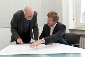 Ingenieur Ulf Bauer und Dipl.-Ing. (FH) Thomas Harrer im Projektgespräch<br />