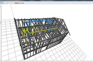 3D-Ansicht eines Wohnungslüftungssystems in einem Haus in Holzständerbauweise