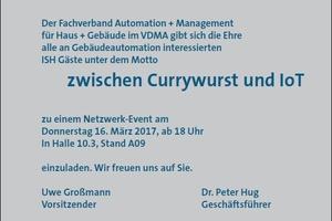 """VDMA-Standparty unter dem Motto """"Currywurst und IoT"""" am 16. März 2017 auf der ISH"""