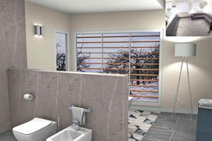 Die Virtual-Reality-Brille simuliert eine 360°-Sicht auf das geplante Bad.