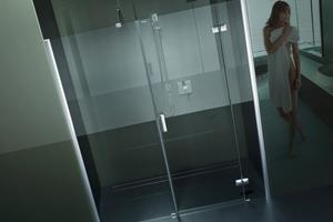 "Die Duschabtrennung ""Highline+"" in grau<br />"