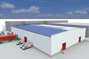 Der erste Bauabschnitt des neuen Roth Logistikzentrums in Dautphetal-Buchenau im Entwurf