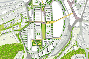 Der Plan zeigt den Endausbau des ehemaligen Industriegeländes, das sich direkt an die Gummersbacher Innenstadt anschließt. Die Halle 32 liegt in der Mitte, südlich schließt sich der Stadtpark an.<br />