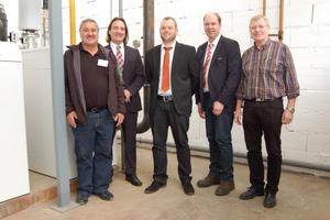Projektbeteiligte (v.l.n.r.): Heinrich Weinbuch (Weinbuch GmbH), Werner Jahke (August Brötje GmbH), Sascha Adelhofen, B. Horlacher (beide Bucher KG) und P. Hörsch (Süßen GmbH).