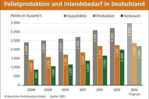 Pelletsproduktion und deutscher Inlandsbedarf (Stand 2013)