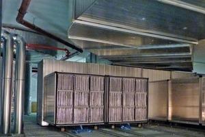 Lufterdregister mit zusätzlichen Latentspeicherplatten aus PCM, dadurch kann Erdkälte und freie Nachtkälte im Sommer für die Luftvorkühlung genutzt werden