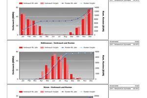 Grafische Darstellung der Entwicklung von Energieverbrauch und Kosten über einen längeren Zeitraum<br />