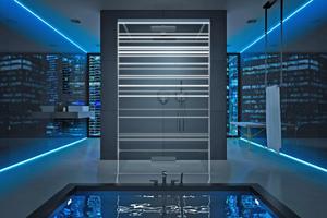 """... beeindruckenden Lichteffekten, wie hier hier mit der Duschwand """"Modell 405 B"""" der """"InLaser""""-Serie """"Lucilie"""" von glassdouche."""