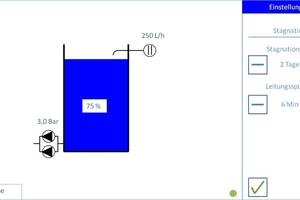 """Über die Steuerung """"DehoustConnect"""" kann mit wenigen Einstellungen die automatische Hygienespülung der vorgelagerten Trinkwasser-Installation programmiert werden."""