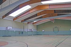 """Die Sporthalle Im Kleefeld: Die aus """"DSP-mini""""-Einzelelementen zusammengesetzten Strahlbänder wurden der Dachneigung folgend schräg abgehängt und flächenbündig eingesetzt."""