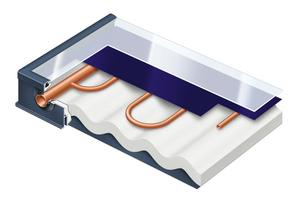 """Das Indach-Montagesystem ist für die Flachkollektoren """"Vitosol 300-F"""" und """"Vitosol 200-F2 einsetzbar. Im Bild der Vitosol 300-F im Schnitt."""