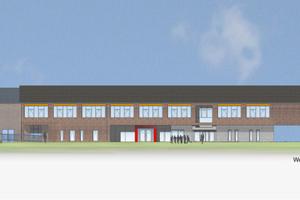 ... Westansicht für Modernisierung und Erweiterung der Friedrich-von-Spee-Schule in Düsseldorf