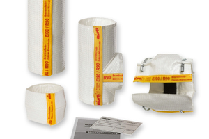 Brandschutz im Komplettpaket: Vorkonfektionierte Formteile für Abzweig, Verbinder und gerades Rohrstück ergänzen das Set.