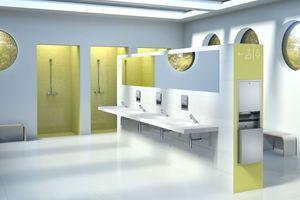 """Die minimalistischen """"F3S-Mix""""-Selbstschlussarmaturen vereinen Funktionalität, Robustheit und Wartungsfreundlichkeit in stark frequentierten Wasch- und Duschräumen.<br />"""