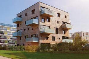 Wohnen ohne Schadstoffe und CO<sub>2</sub>-neutral: Das Woodcube-Massivholz-Wohngebäude in Hamburg