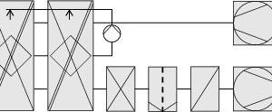 """<div class=""""grafikueberschrift"""">System 4</div>Abluftdirektbefeuchtung mit Umlaufwasser und Kreuz-Gegenstrom-Rekuperator"""