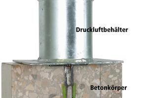 Bild 2.2: Schnittbild - Prüfaufbau mit Anschluss für die Druckwasserprüfung<br />