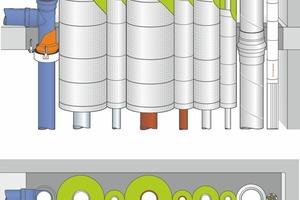 """<div class=""""grafikueberschrift"""">Eine typische Mehrfachabschottung </div>Typische Mehrfachabschottung mit Nullabstand mit Viega-Rohrsystemen: Die brandschutztechnisch geprüften Durchführungssysteme bieten mehr Planungsfreiheit und -sicherheit."""