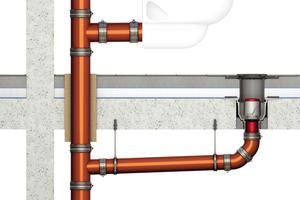 Nicht brennbare Entwässerungsleitung inkl. nicht brennbarer Anschlussleitungen und Abschottungen mit Allgemeinem bauaufsichtlichem Prüfzeugnis (AbP)/Allgemeiner bauaufsichtlicher Zulassung (AbZ) und nicht brennbare Bodenabläufe mit AbP/AbZ.