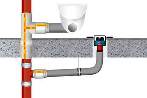 """Häufiger Anwendungsfall in der Bestandssanierung: Eine gusseiserne Abwasserleitung wird auf Kunststoffrohr weitergeführt. """"BSM-GuKu-FL"""" besitzt die Lösung."""