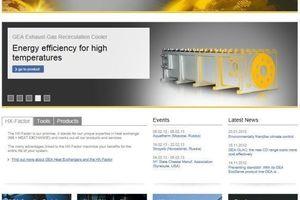 Screenshot des Internetauftritts vom Wärmetauschersegment GEA Heat Exchangers