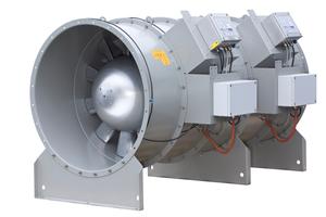 """Doppelstufiger Entrauchungs-Axialventilator der Type """"BVZAXN"""" mit Ventilator Diagnoseeinheit und angeschlossener Volumenstrommesseinrichtung"""