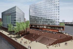 Die Ericusspitze am östlichen Ende der Hafencity in Hamburg gilt als exponierte Lage für ein außergewöhnliches Bauprojekt; hier entsteht in direkter Nähe zur historischen Speicherstadt der neue Firmensitz der Spiegel-Gruppe<br />