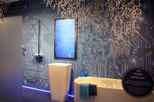 """... digital durchkomponierten Badezimmern in der Sonderschau """"Pop up my Bathroom"""" der Vereinigung Deutsche Sanitärwirtschaft e.V. und ..."""