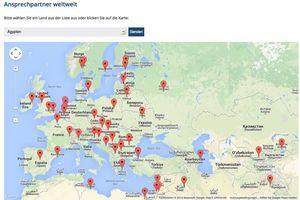 Die Händlersuche weltweit erfolgt mit Google Maps.