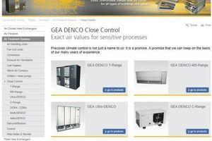 Der Bereich der Präzisionsklimageräte von GEA Denco