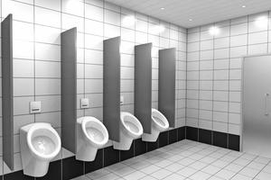 Mit ihrer zeitlos puristischen Frontplatte macht die Urinal-Steuerung auch im öffentlichen Bereich einen repräsentativen Eindruck