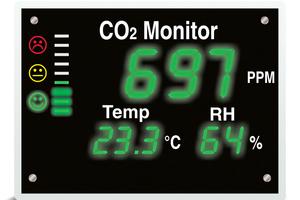 CO<sub>2</sub>-Monitore (hier: Modell XL) sind kleine Helfer mit großem Funktionsumfang für den Alltag im Büro oder zu Hause. Mit ihnen erkennt man immer den richtigen Zeitpunkt für einen Luftaustausch.