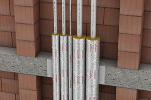 """Die Rockwool-Dämmschale """"RS 800"""" kann als Wärmedämmung und als Rohrabschottung R30 bis R120 für """"TECEflex""""- und """"TECElogo""""-Verbundrohre eingesetzt werden."""