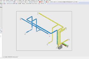 Wohnungslüftungsgerät mit Luftverteilsystem im 3D-Ansicht