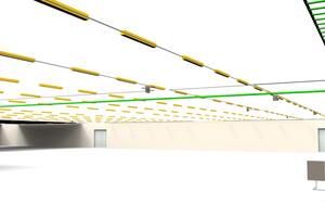 3D-Darstellung der Beleuchtungsplanung und Kabelbahnen in DDS-CAD