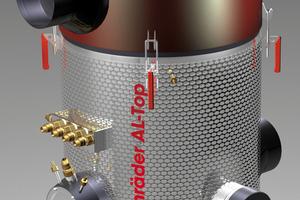 """Der """"AL-Top"""" von Schräder, geeignet für Anlagen bis 300 kW, arbeitet per elektrostatischer Aufladung, so dass sich die Staubpartikel auf der Filterschüttung absetzen<br />"""