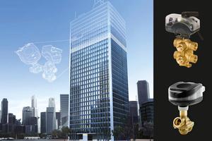 """Die Kombination von """"ChangeOver<sup>6</sup>"""" mit dem Regel- und Abgleichventil """"AB-QM"""" und dem digitalen Stellantrieb """"NovoCon"""" sichert eine druckunabhängige und kosteneffiziente Durchflussregelung sowie eine einfache Integration in die Gebäudeautomation."""