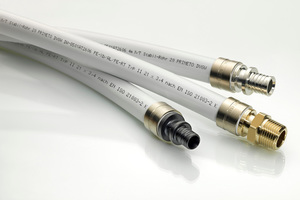 """Das """"Prineto""""-Rohrinstallationssystem von IVT umfasst Fittings aus verzinntem Messing CW617N (silbern) in den Dimensionen 16 mm bis 63 mm sowie aus Cuphin (goldfarben) von 16 mm bis 32 mm für Anforderungen an erhöhte Korrosionsbeständigkeit. Seit Anfang 2014 ergänzen Fittings aus PPSU-Kunststoff (schwarz) von 16 mm bis 32 mm das Sortiment. Die Rohrverbindungen erfolgen jeweils mit den gleichen Schiebehülsen und Werkzeugen."""