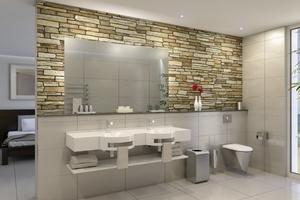 """In der D-Form lässt sich der flexible """"Varius""""-Waschtisch aus Mineralgranit mit bis zu drei Waschmulden in rundem oder ovalem Design gestalten, inklusive zusätzlicher Erweiterungsoptionen, wie z.B. Schürze und Handtuchhalter."""