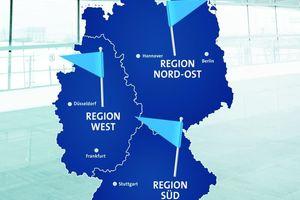 Bei Grundfos gibt es zukünftig die drei Verkaufsregionen Nord-Ost, West und Süd  mit jeweils ca. 25 Außendienstmitarbeitern für das Handels- und für das Projektgeschäft sowie sechs  regionalen Büros für die Präsenz vor Ort.