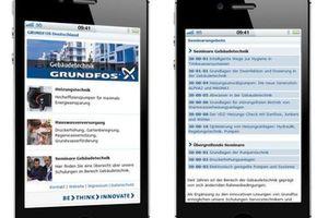 Die Suche nach interessanten Themen und die Anmeldung zu den Seminaren von Grundfos ist über das Smartphone unter www.grundfos.de/mobil möglich