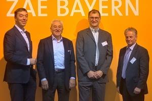 """Die Referenten des ZAE-Tags """"Integration und Flexibilisierung von Erneuerbaren Energien (v. l.n.r.): Urban Windelen, Udo Möhrstedt, Prof. Chrostoph J. Brabec und Robert Schumm  (Foto: ZAE Bayern)"""