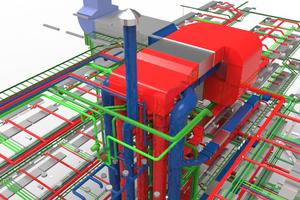 """Dreidimensionale SHKL-Planung in """"DDS-CAD"""". Die Funktionalität umfasst die komplette Konstruktion und Dimensionierung des Rohr-, Kanal- und Trassennetzes; Volumen- und Flächenberechnung sind im automatischen Gebäudemodell inbegriffen. Die integrierten Berechnungen decken u. a. Heizlast, Rohrnetz, Abwasser sowie Wohnraumlüftung und maschinelle Lüftung wie auch Druckverlust ab."""