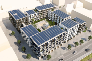 """<div class=""""99 Bildunterschrift"""">Block Béla aus der Vogelperspektive mit der geplanten Solaranlage auf dem Dach</div>"""
