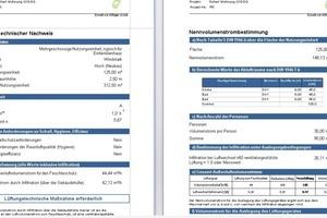 Ausgegeben werden die Ergebnisse in papiersparender Tabellenform oder auf Formblättern gemäß DIN 1946-6.